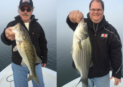 Bob Whitbeck of Mooresville with a Lake Norman spotted bass. Shane Whitbeck with a hybrid striped bass.