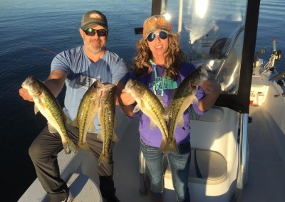 Scott Ward and Liz Butcher caught and released these and numerous other spotted bass taken while deep jigging in sixty feet of water.